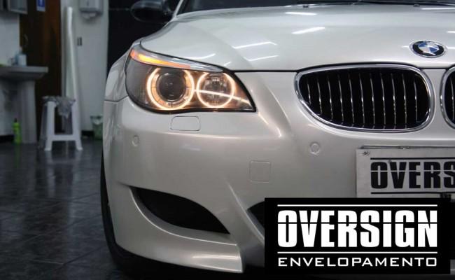 BMW M5 V10 Branco pérola – BMW M5 envelopada, envelopamento branco pérola, avery dennison, (34)