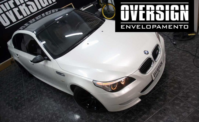 BMW M5 V10 Branco pérola – BMW M5 envelopada, envelopamento branco pérola, avery dennison, (39)