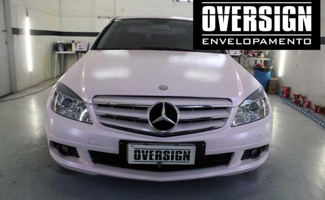 Envelopamento, Mercedes, C180, rosa mary kay, oversign, frotas, (20)