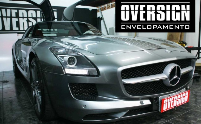 Mercedes SLS, Mercedes SLS envelopada, SLS envelopada, SLS porta de gaivota, oversign (7)