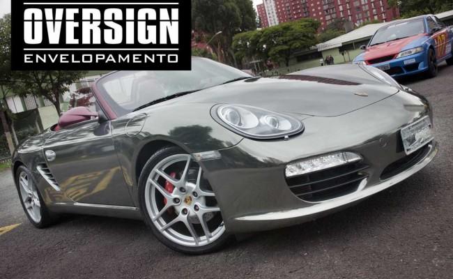 Porsche Boxster S cromada, Porsche cromada, porsche black chromo, avery dennison, adesivo cromado, carro cromado, oversign, (47)