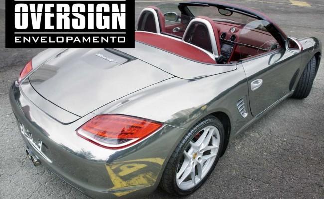 Porsche Boxster S cromada, Porsche cromada, porsche black chromo, avery dennison, adesivo cromado, carro cromado, oversign, (51)