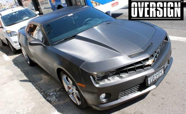 Camaro SS, Camaro SS preto, Camaro Preto, Camaro envelopado, Camaro aço escovado, Black Brushed Metallic, Oversign, (59)