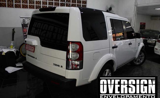 Land Rover Discovery 4, envelopamento branco, adesivo alto brilho, envelopamento de carros, carros de luxo, range rover, evoque, sport, vogue, oversign, (16)
