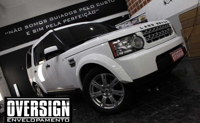 Land Rover Discovery 4, envelopamento branco, adesivo alto brilho, envelopamento de carros, carros de luxo, range rover, evoque, sport, vogue, oversign, (23)