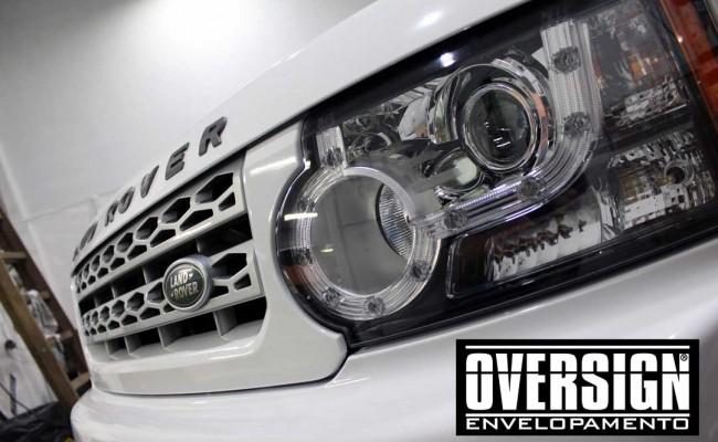 Land Rover Discovery 4, envelopamento branco, adesivo alto brilho, envelopamento de carros, carros de luxo, range rover, evoque, sport, vogue, oversign, (26)