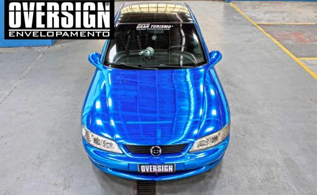 envelopamento cromado, cromado azul, cromado prata, lamborghini cromada, carro cromado, vectra cromado, vectra azul cromado, oversign, (6)