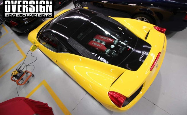Ferrari F458, ferrari amarela, ferrari black piano, ferrari teto black piano, adesivo black piano, envelopamento de teto, adesivo teto, oversign, Ceramic pro, (22)