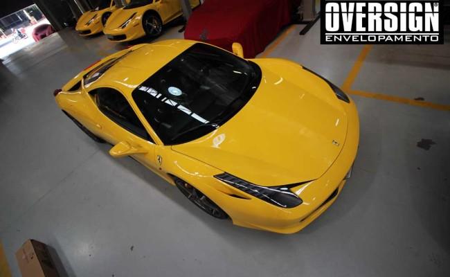 Ferrari F458, ferrari amarela, ferrari black piano, ferrari teto black piano, adesivo black piano, envelopamento de teto, adesivo teto, oversign, Ceramic pro, (7)