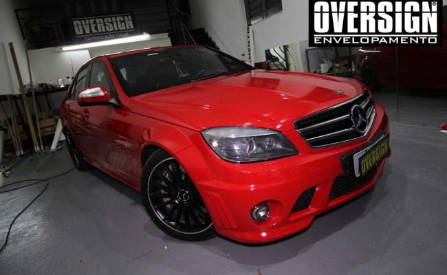 Mercedes C63 AMG Vermelho, c63 vermelho, amg vermelho, divena, ammarcelo, wrap red, envelopamento vermelho, adesivo vermelho, c63 envelopada, oversign (45)