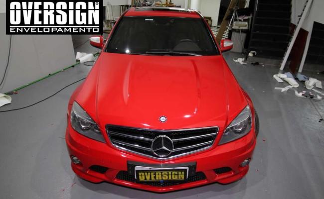 Mercedes C63 AMG Vermelho, c63 vermelho, amg vermelho, divena, ammarcelo, wrap red, envelopamento vermelho, adesivo vermelho, c63 envelopada, oversign (48)