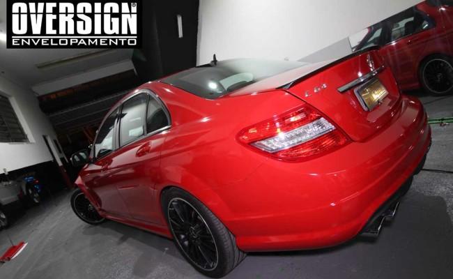 Mercedes C63 AMG Vermelho, c63 vermelho, amg vermelho, divena, ammarcelo, wrap red, envelopamento vermelho, adesivo vermelho, c63 envelopada, oversign (51)