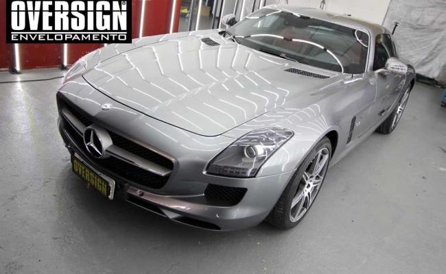 Mercedes SLS AMG, ENvelopamento, preto fosco, black satin, oversign, ferrari, porsche, Lamborghini, Maserati, Levante, envelopamento de carros, teto black piano, (01 (1)