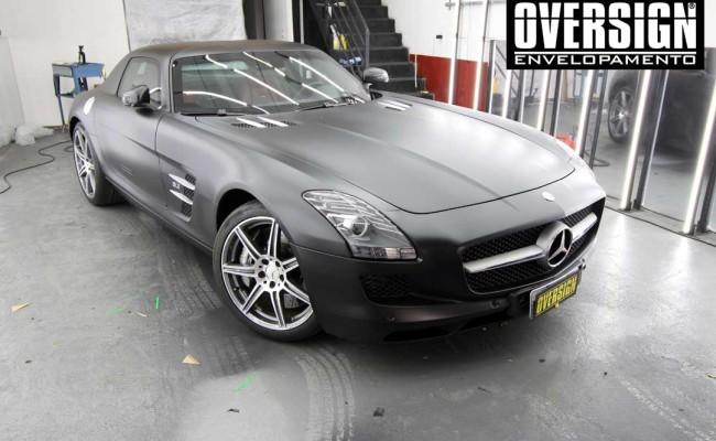 Mercedes SLS AMG, ENvelopamento, preto fosco, black satin, oversign, ferrari, porsche, Lamborghini, Maserati, Levante, envelopamento de carros, teto black piano, (01 (22)