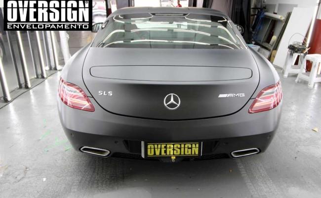 Mercedes SLS AMG, ENvelopamento, preto fosco, black satin, oversign, ferrari, porsche, Lamborghini, Maserati, Levante, envelopamento de carros, teto black piano, (01 (23)