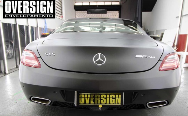 Mercedes SLS AMG, ENvelopamento, preto fosco, black satin, oversign, ferrari, porsche, Lamborghini, Maserati, Levante, envelopamento de carros, teto black piano, (01 (24)