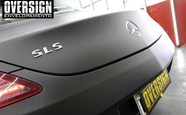 Mercedes SLS AMG, ENvelopamento, preto fosco, black satin, oversign, ferrari, porsche, Lamborghini, Maserati, Levante, envelopamento de carros, teto black piano, (01 (28)