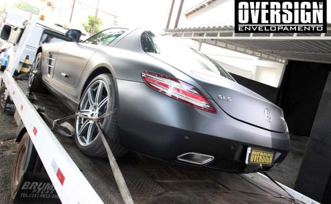 Mercedes SLS AMG, ENvelopamento, preto fosco, black satin, oversign, ferrari, porsche, Lamborghini, Maserati, Levante, envelopamento de carros, teto black piano, (01 (35)