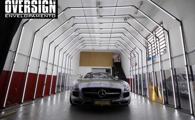 Mercedes SLS AMG, ENvelopamento, preto fosco, black satin, oversign, ferrari, porsche, Lamborghini, Maserati, Levante, envelopamento de carros, teto black piano, (01)