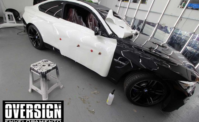BMW M4 branco pérola, Hexis, Avery Dennison, Sid signs, oversign, envelopamento de carro, M4, f82 (14)