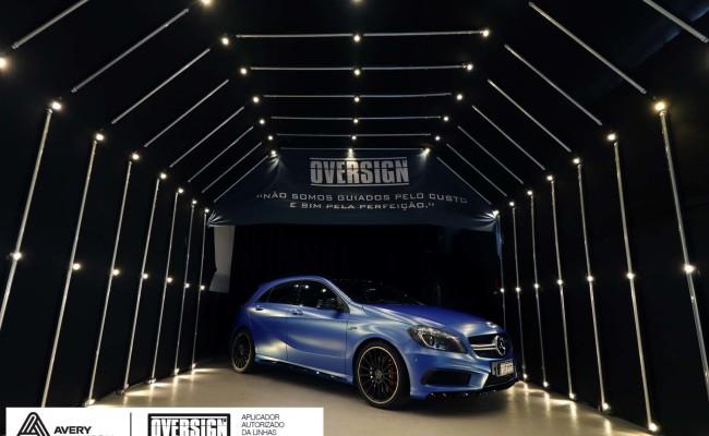 Mercedes A45 amg, AMG, a45, novo a45, wave blue, envelopamento, envelopamento de carros, carros de luxo, divena mercedes, oversign, (44)