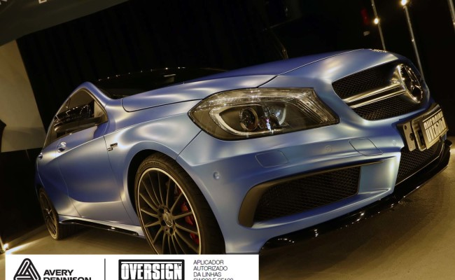 Mercedes A45 amg, AMG, a45, novo a45, wave blue, envelopamento, envelopamento de carros, carros de luxo, divena mercedes, oversign, (46)