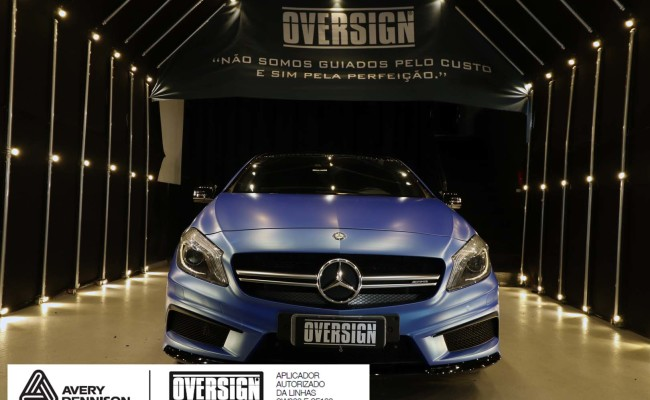 Mercedes A45 amg, AMG, a45, novo a45, wave blue, envelopamento, envelopamento de carros, carros de luxo, divena mercedes, oversign, (49)