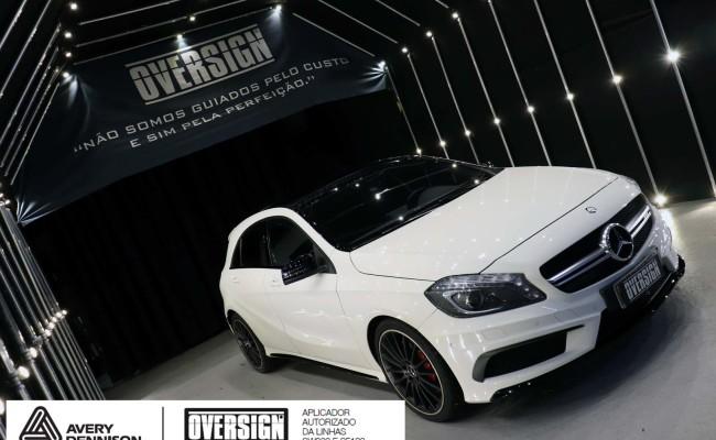 Mercedes A45 amg, AMG, a45, novo a45, wave blue, envelopamento, envelopamento de carros, carros de luxo, divena mercedes, oversign, (5)
