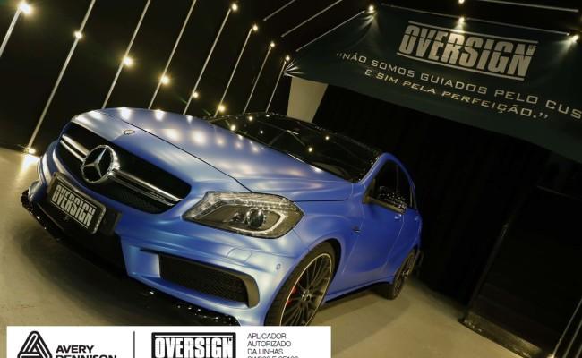 Mercedes A45 amg, AMG, a45, novo a45, wave blue, envelopamento, envelopamento de carros, carros de luxo, divena mercedes, oversign, (50)