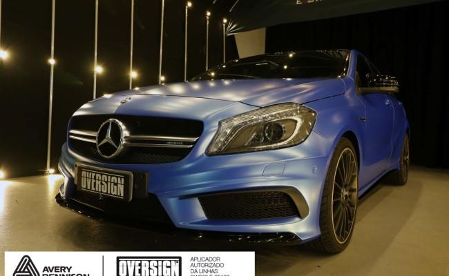 Mercedes A45 amg, AMG, a45, novo a45, wave blue, envelopamento, envelopamento de carros, carros de luxo, divena mercedes, oversign, (51)