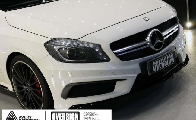 Mercedes A45 amg, AMG, a45, novo a45, wave blue, envelopamento, envelopamento de carros, carros de luxo, divena mercedes, oversign, (6)
